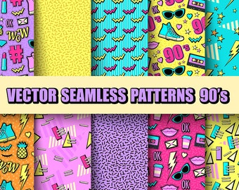 DIGITAL PAPER 90s 80s Patterns Seamless Vector Printable
