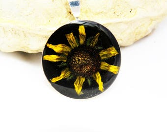 Sunflower necklace, Real botanical necklace, real flower pendant, statement necklace,  flower necklace, flower pendant