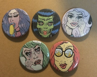 Pop Art Girls Pinback Buttons Set of Five