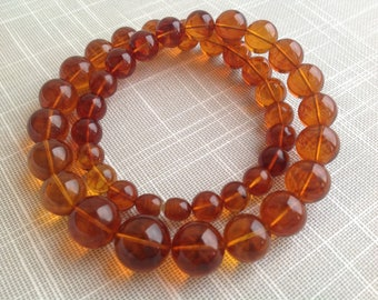 Natural Baltic amber necklace beads 9.5mm - 15mm red color transparent gift for her  الكهرمان