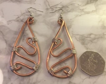 Copper and silver earings