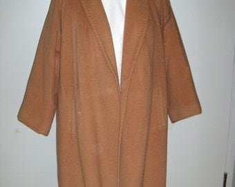 Wool and beaver blend coat, lined in satin, Vintage 1950's Size 6 1/2-7.