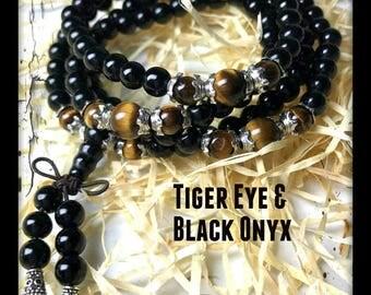 108 Bead Mala, Tiger's Eye Stone, Black Onyx Stone, Tibetan Silver, Hand Made Mala, Tiger Eye bracelet, Healing crystals, Protection Mala