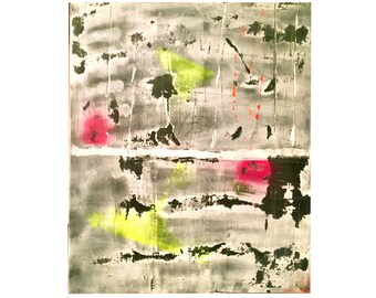 Neon - Abstract painting Art abstract modern green slate white pink fluo fluo orange fluo yellow