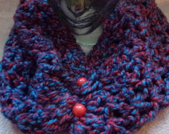 Crochet Cowl in shades of blue, black and dark red
