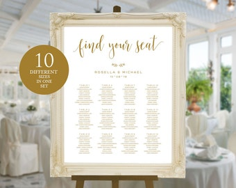 Gold Wedding seating chart, printable seating chart, Seating Chart Template, engagement seating chart, Find your seat sign, WPC_144