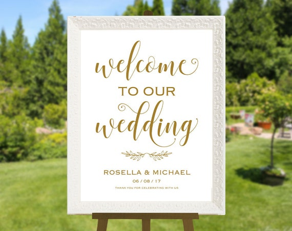 gold wedding welcome sign template welcome to our wedding. Black Bedroom Furniture Sets. Home Design Ideas