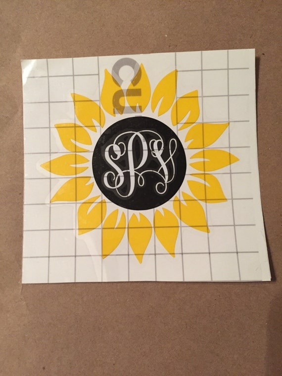 Sunflower Vinyl Decal With Monogram From Shopsuttonspring