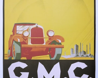 GMC trucks poster - vintage car print - offset lithograph - 1996
