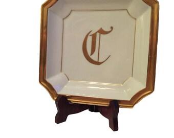 Sadek Monogram Initial C Catch-all Jewelry Change Valet Tray Ashtray