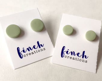 Sage green clay stud earrings, handmade polymer clay circle and square