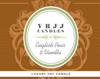 English Pear & Vanilla, Hand poured Candle, Handmade Candle, Soy Wax Candle. Pear Scented Candle, Vanilla scented Candle, Luxury Candle.