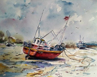 Ship paintings, watercolor paintings original, sea landscape, home decors, old boats paintings, gift for men, watercolor art