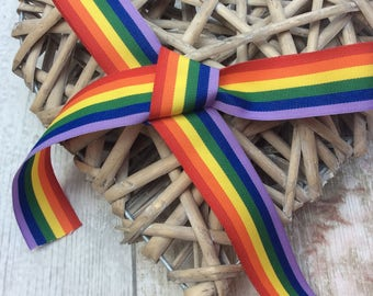 Rainbow Ribbon, 25mm Ribbon, Gay Pride Ribbon, LGBT Ribbon, Craft Supplies, Gift Wrap, Haberdashery