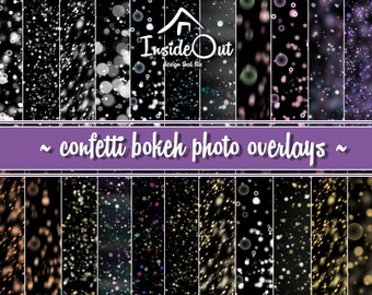 Confetti Bokeh Overlay Photo Backdrop Blowing Clipart Photoshop Circle Round Radiant Luminous Digital PNG Baby Photography effect Multicolor