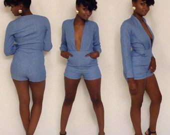 Denim V-Neck Long Sleeved Shorts Romper Small Medium