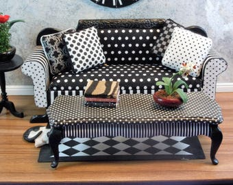 Dollhouse Miniature furniture in twelfth scale or 1:12 scale.  Upholstered sofa/couch in Black & white stripes and polka dots.  Item #284.