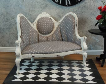 Dollhouse Miniature furniture; Shabby chic sofa/settee/couch in gray and white polka dots; twelfth scale; 1:12 scale. Item #313.