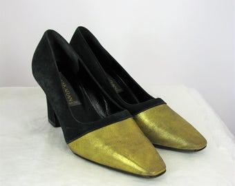 Vintage Donna Karan New York Black & Gold Pumps 6 NWOB