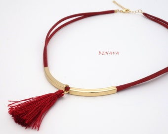 Choker necklace collar fabric tassel red gold