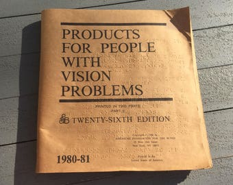 Vintage 1980-81 Products For People With Vision Problems Part II 26th Edition Braille Book For the Blind