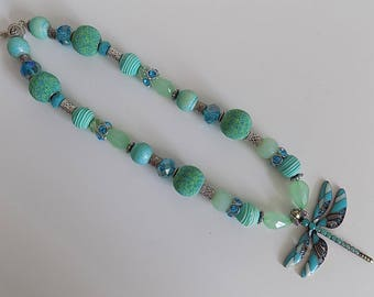 Turquoise Necklace, Dragonfly Necklace, Dragonfly Jewelry, Statement Necklace, Beaded Necklace,