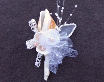 Seashell Boutonniere Natural Shell Faux Pearls Boutonniere-Beach Wedding-by Floramiagarden