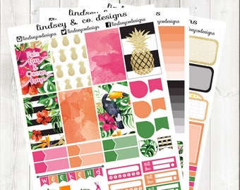 BIG Happy Planner Sticker Kit || Printable weekly kit || Palm Trees & Ocean Breeze || Printable 2017 Me and My Big Ideas Big Happy Planner