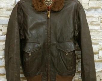 Vintage 50's 60's U.S.N Bomber Jacket Brown G1 Leather Flight Jacket