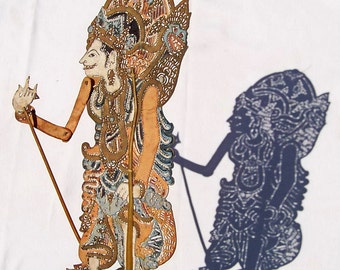 Shadow Puppet: Wayang kulit, Bali, Indonesia. Hindu God Indra, Unique antique home decor. Lace like hand cut in leather, painted both sides