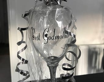 Best Godmother Personalised Silver Glitter Glass Gift Wrapped