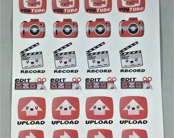 YouTube Happy Faces, Tracker Planner sticker sheet, Record, Edit, Upload, Play and others.