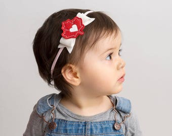 Canada Day Felt Headband | Maple Leaf Headband | Baby Girl Headband | Canadian Accessory | Canada Feltie | Handmade Girl Hair Accessory