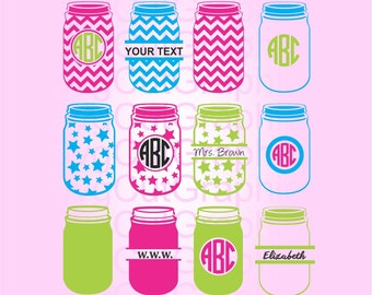Mason Jar SVG Monogram Frame Svg Cut Files, Svg files for Cricut, Cut files for Silhouette and other Vinyl Cutters, Vector Design, Svg files