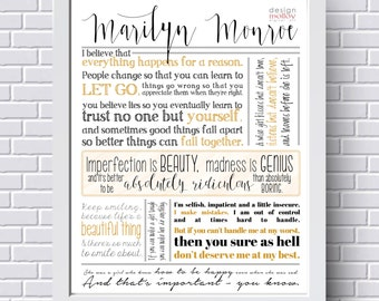 "Marilyn Monroe Quotes - Marilyn Monroe Poster, 11x14"" Printable, Marilyn Monroe Wall Art,Inspirational Quotes,Instant Download Printable Art"