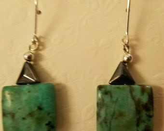 Sterling silver wire wrapped hematite and turquoise stone earrings