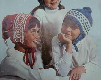 Vintage 1970's Bellmans Children's  Norwegian Scandinavian and Swiss Hat Knitting Patterns BoutiqueByDanielle