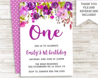 Purple Floral First Birthday Invitation Invite ANY AGE Watercolor Flowers 1st Garden 5x7 Digital Personalized