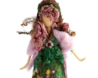 Waldorf Inspired Needle Felted Spring Maiden Fairy for Nature Table
