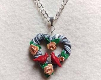 Cardinals love Heart necklace