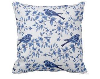 Blue  Pillow - Decorative Throw Pillow Covers - Blue Pillow Cover - Blue and White Pillows - Couch Pillow - Pillow Sham - Bird Pillow