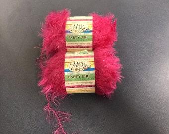 Two skeins bright pink Yarn Bee Party Girl eyelash yarn