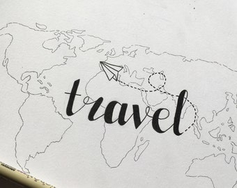 Travel Map and Calligraphy Art Print
