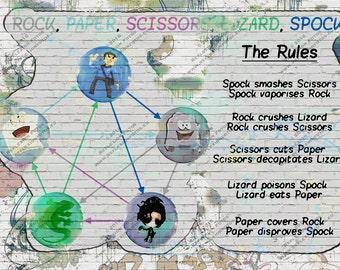 Graffiti Designed Rock, Paper, Scissors, Lizard, Spock with Rules - Printable File - Digital Image