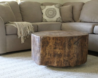 copper stump bo. wood stump. coffee table. copper plated