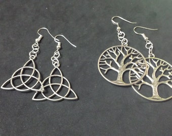 Triquetra earrings, tree of life, wicca, wiccan jewelry, paganism, pagan jewelry