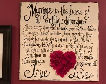 Wedding Vows Handpainted Calligraphy of Wedding Vows on Large Wooden Sign