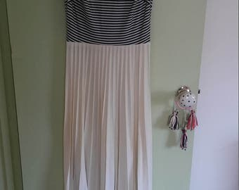 60s vintage navy blue and white striped sleeveless and pleated maxi dress