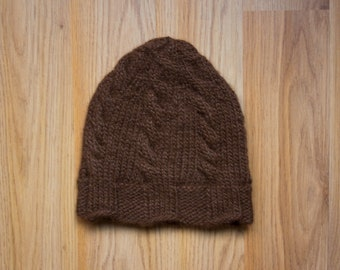 Wool Kid's Toddler Hat, Winter Snow Hat, Cable Hand Knit Hat, Soft Alpaca Wool from Utah, Made in USA