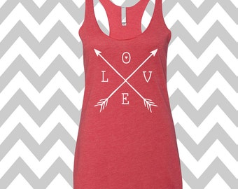 Arrows Love Tank Top Valentines Day Clothing Exercise Tank Arrow Tee Running Tank Top Cute Womens Gym Tank  Valentines Shirt